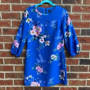 Ann Taylor 3/4 sleeve shift dress blue w/ floral